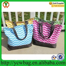 Shopping gym bag canvas chevron tote bag wholesale