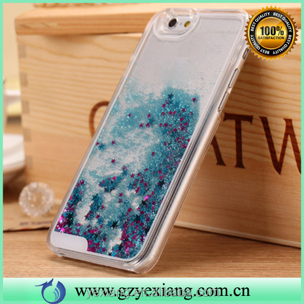 2016 hot selling liquid glitter sand star crystal pc case for iphone 5c back cover