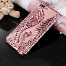 Cartoon Wallpapers 3D Swan Phone Case for iPhone 6 6S 6Plus 7 7Plus Swan Love TPU Smartphone Back Cover