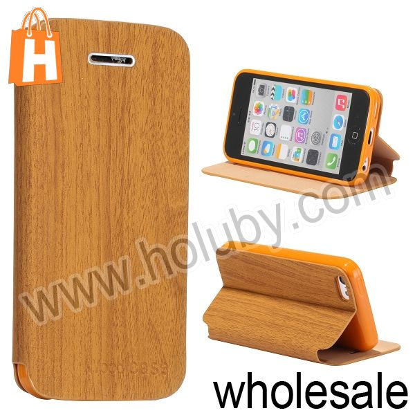 Hot Sale Wood Textured Flip Stand Cover Leather+TPU Case for iPhone 5C