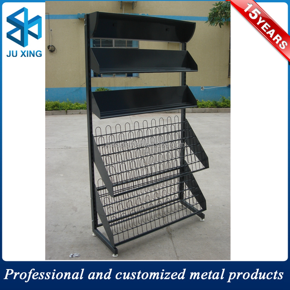 Handmade commercial used solid wooden cd racks wholesale, magazine metal display rack