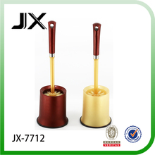 Junxin hot sale wine red and goldeng yellow toilet cleaning brush set with holder and PVC ground mat for toilet cleaning