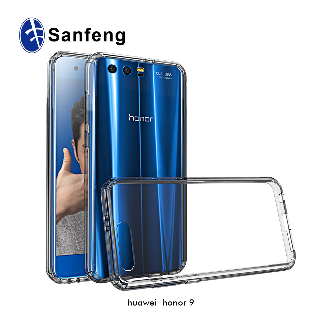 Rock TPU Gel Bumper PC Acrylic Transparent Back Cover Case for Huawei Honor 9