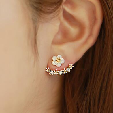 Wish hot sale fashion daisy silver 925 needle anti allergy crystal stud earrings