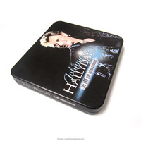 custom design rectangle metal storage tin dvd box case