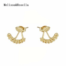2017 New Latest Wholesale Fashion Jewelry 14K Gold Silver New Models Double Sided Wheat Designs Leaf Shape Earring Earrings