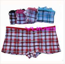 Soft cotton grid printed boyshorts panties for female undergarments