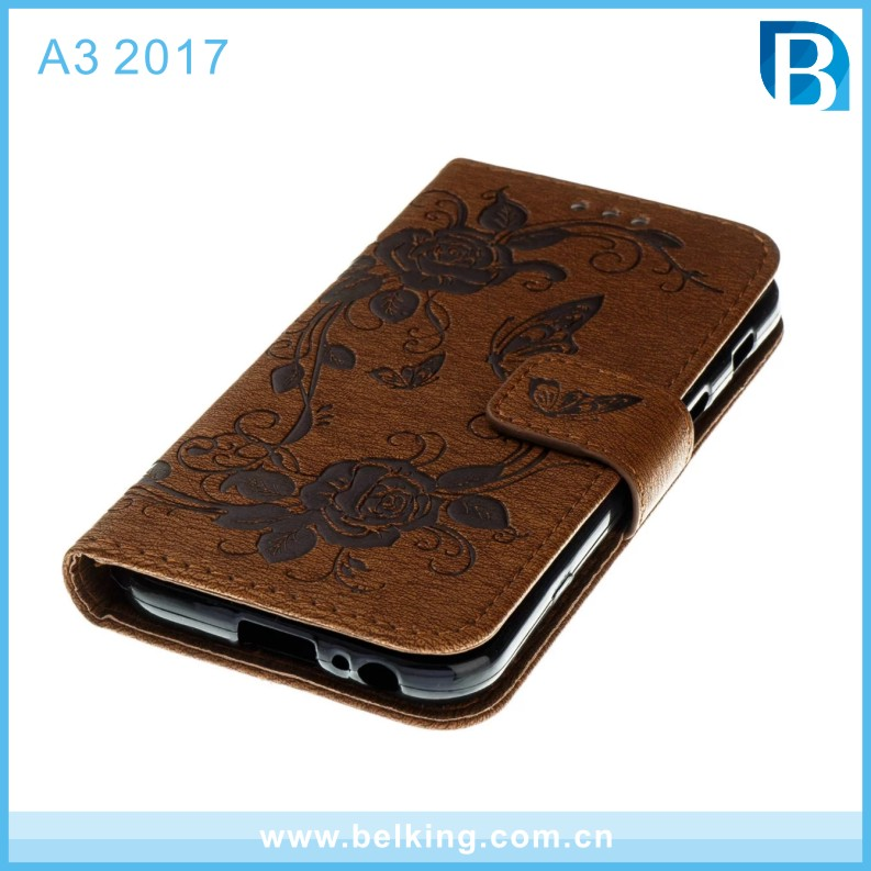 Wallet Cases Wild Wolf Butterfly Embossing Phone Cover Card Hoder Kickstand Pu Leather Case for Samsung A3