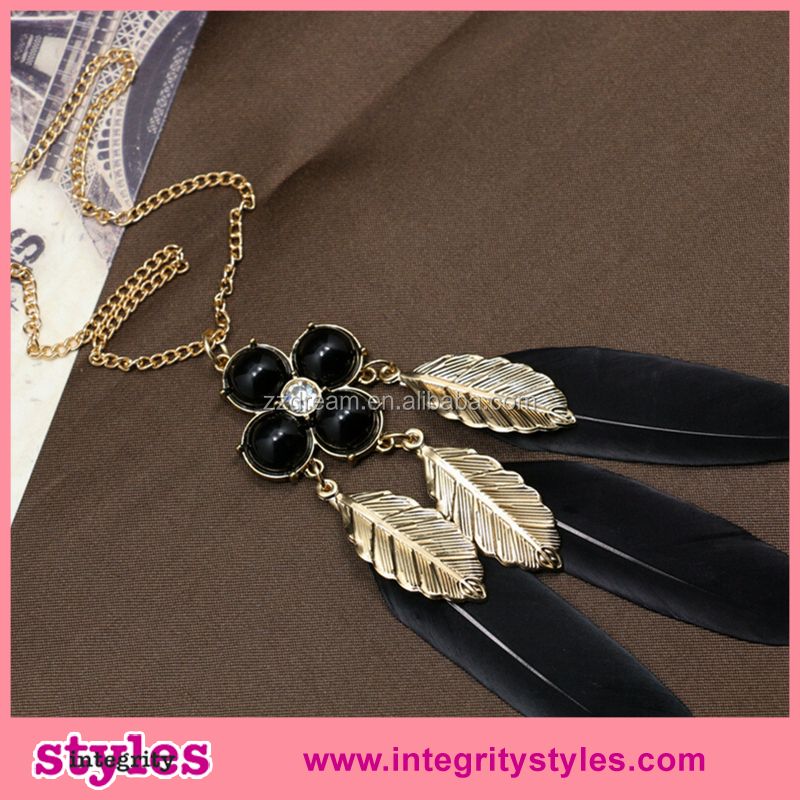 Latest style cheap fashion necklace feather meaning