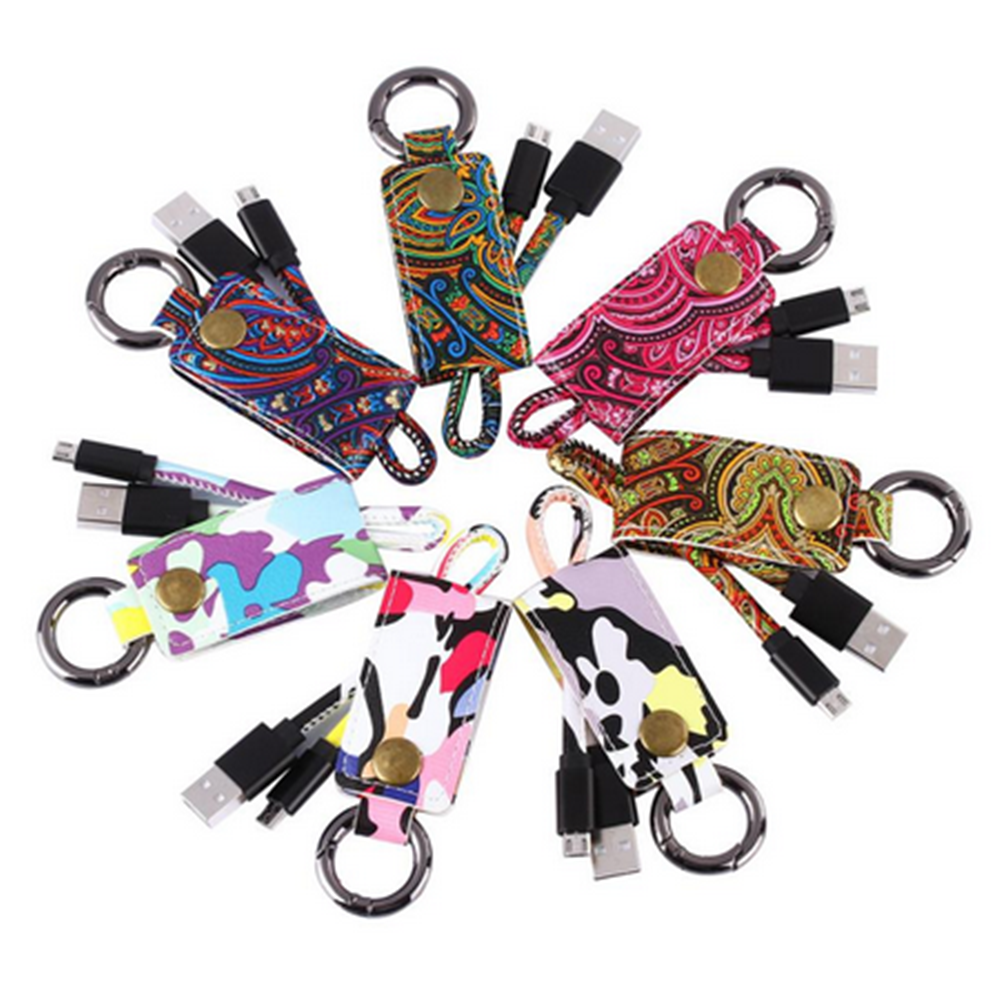 New Fortable Mobile Phone Cables Leather Keychain USB Charger Sync Data Cable For smart phone