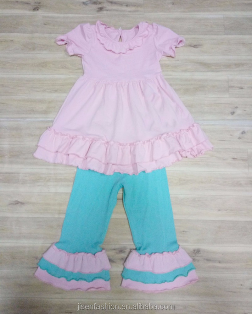 short sleeve and triple ruffle pants spring and fall girl outfits