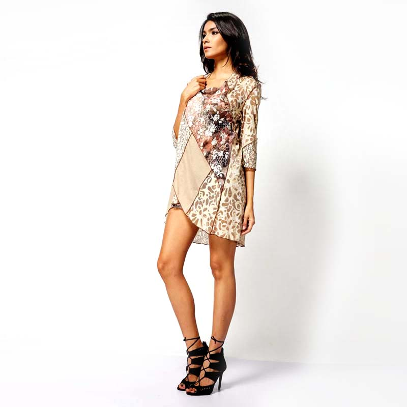 High quality fashion contrast lace design ladies 3-piece dress