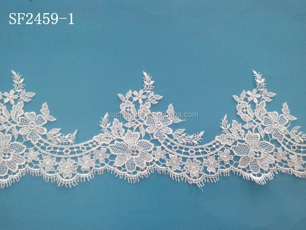 High quality bridal applique trim 100% polyester textile water soluble lace