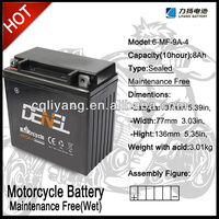 SEALED LEAD ACID MAINTENANCE FREE MOTORCYCLE BATTERY 12N9L-BS(12V 9AH)