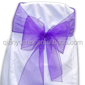 Purple organza wedding chair sash for chairs