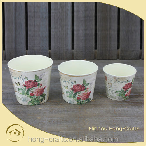 Hot Sale set/3 bulk rose design round plastic PP flower pot for garden