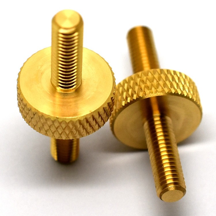 CNC Lathe Turning Part Manufacturer Free Cutting Brass medial Knurled Screw part