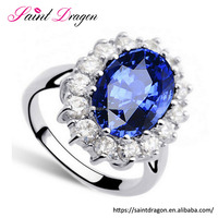 Saint dragon jewelry luxury sapphire ring fashion zircon white gold wedding ring jewelry for women
