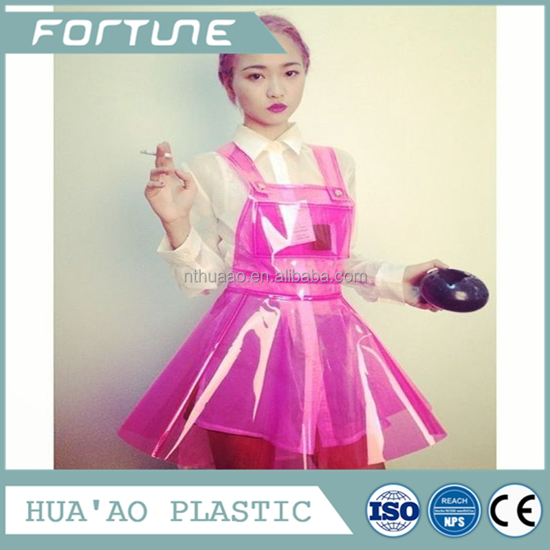 Trendy plastic color dresses pvc clothes making material