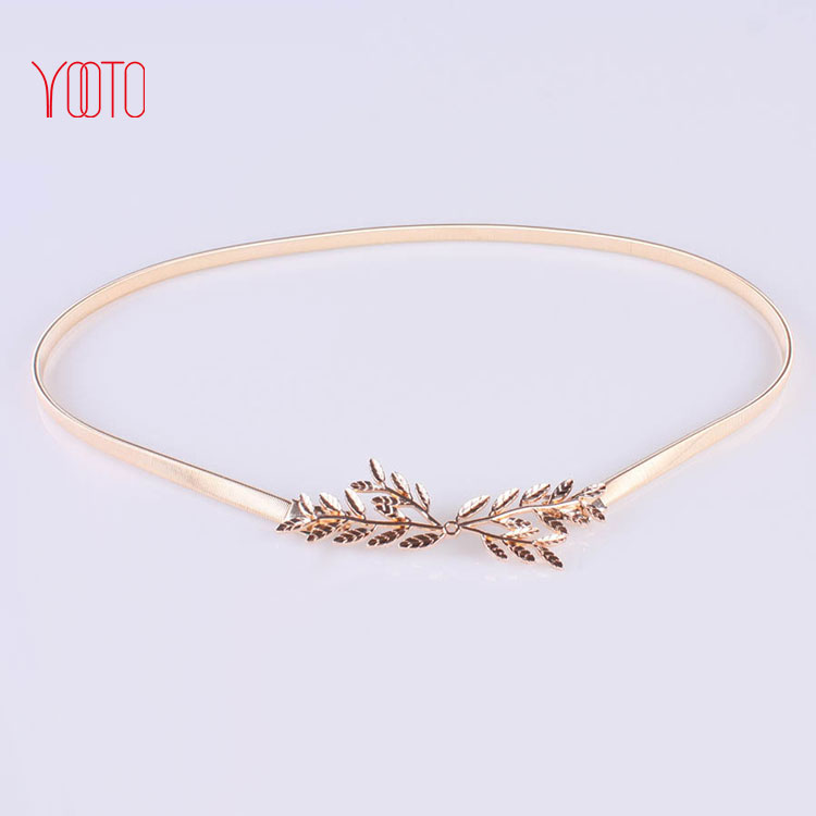 Small leaf design clasp front skinny alloy belt for women dresses