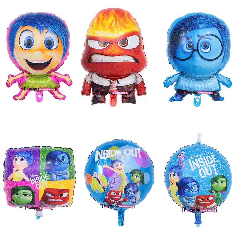 Partigos Mind Agents Inside Out Joy Sadness Anger Foil Balloons Birthday Party Decoration Kids Toys