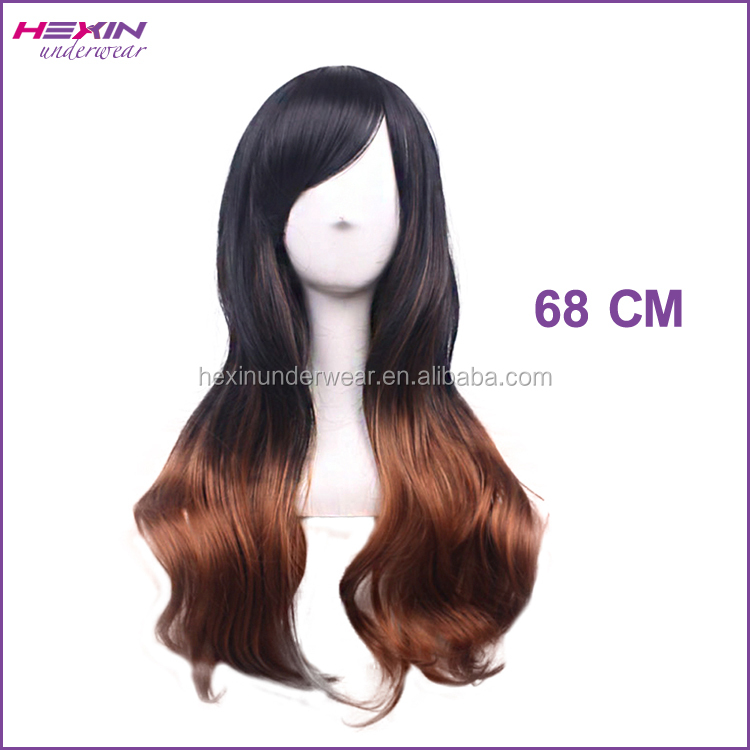 Long Two Tone Black and Brown Free Lace Wigs Samples Available