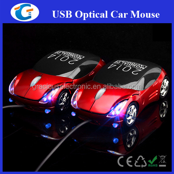 wired usb 3d optical gift car mouse with headlight