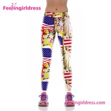 USA Flag Prited Legging Running Pants Gym Wear For Womens