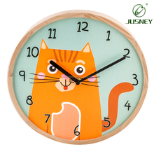 Hot Sale Silent Sweep Wooden Home Decorative Wall Clock with Plastic Base