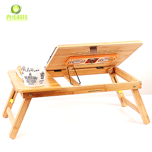 Wooden folding computer desk wholesale portable study table adjustable bamboo folding laptop table