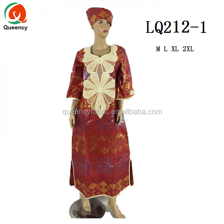 LQ212 Queency African Embroidered Bazin Dress Set Wholesale Clothing South Africa in Multi Colors