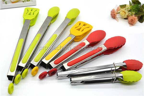 Hest-resistant Kitchen Tongs and Stainless Steel Silicone Cooking Utensils