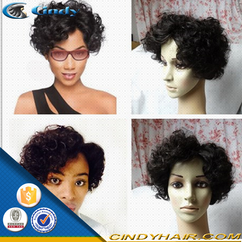 Christmas promotion short style 100% human hair wig afro kinky curly straight wave virgin brazilian hair machine made wigs