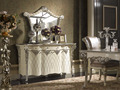 Louis XVI Style Neoclassical Buffet Table Set, White Ornate Buffet and Mirror Set with Tidy Line