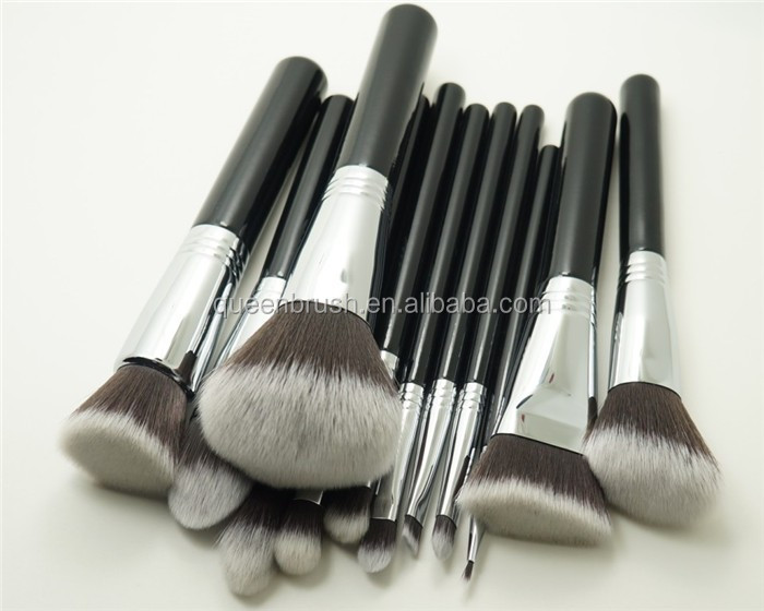Private Label Cosmetic Brushes 4 Rings Copper Makeup Brushes Set 12 Pieces