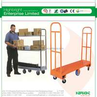 durable strong loading heavy duty warehouse hand push cart , hot selling foldable warehouse cargo trolley