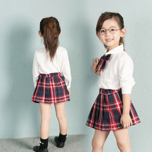 Autumn&Spring New School Style Fashion Baby Girls Dress Set White Shirt Top With Plaid Knot Tie+Plaid Mini Skirt 3 Pcs Sets