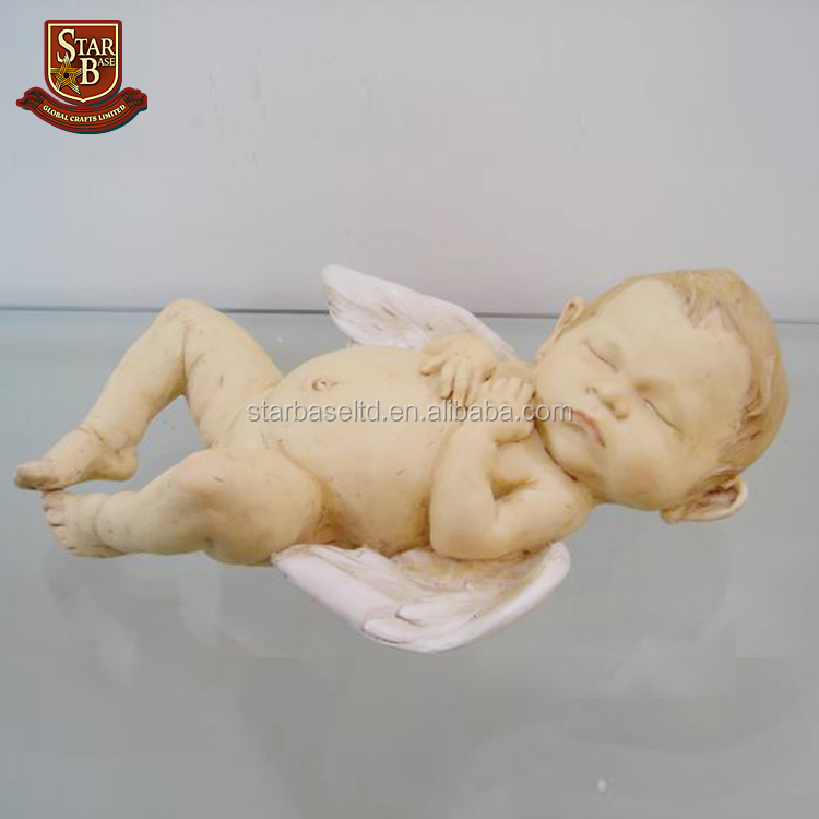 Fairy polyresin angel lily-white wings figurine for home decoration