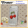 3D bling sublimation high quality hard PC case for iPhone/for samsung with inlay crystal pearl and cherry decoration phone cover