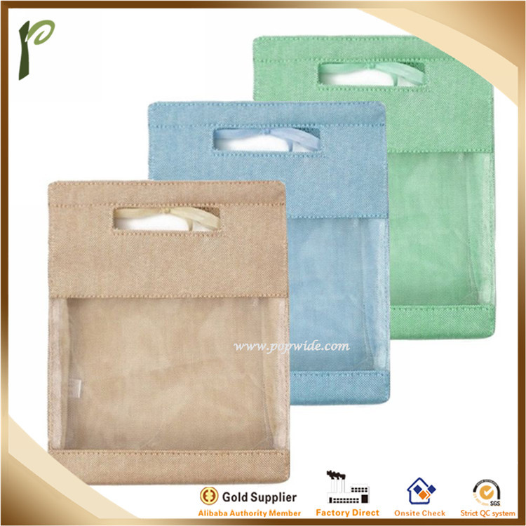Popwide Wholesales Jute Material Packaging Bag with PVC Window