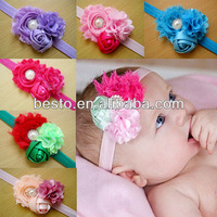 elastic wholesale beautiful trendy soft shabby satin rose flower baby girls headbands