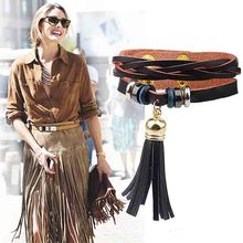 Fashion knitting beaded tassel leather bracelet