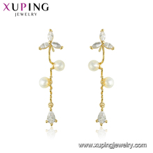 95534 xuping exquisite workmanship precious white pearl magnet long chain dangle earrings with 14k gold plated