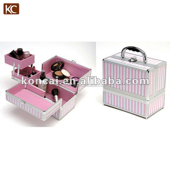 Fashionable PVC Leather Cosmetic Case With Sliding 2 Tiered Tray and Pink Fabric Lining Inside