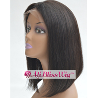 150% Density Black Straight Glueless Middle Part Brazilian Human Hair Short Bob Lace Front Wig with Baby Hair for Black Women