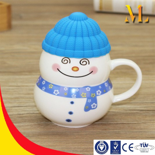 snowman Christmas gits china cup mugs handle creative eco-friendly rubber