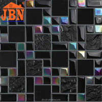 glow in the dark mosaic tile/rhombus mosaic floor tile/stainless steel mix glass mosaic tile
