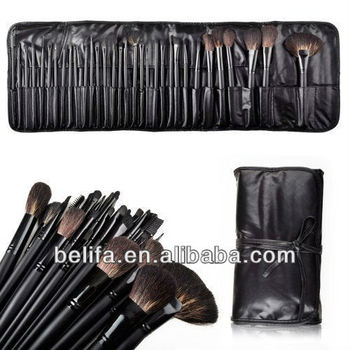 32pcs black color wooden handle aluminum ferrule nylon hair brush set with pu bag