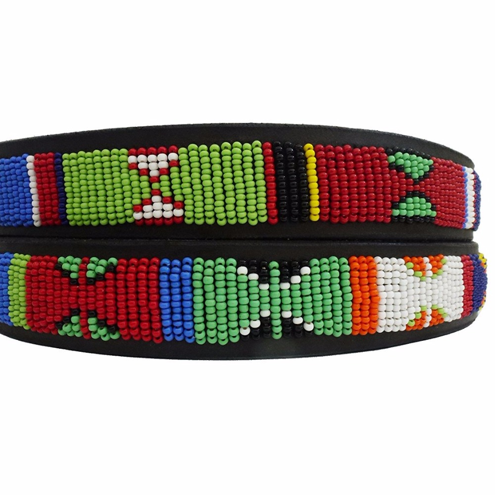 Handmade Leather Beaded Dog Collar for Medium Dog