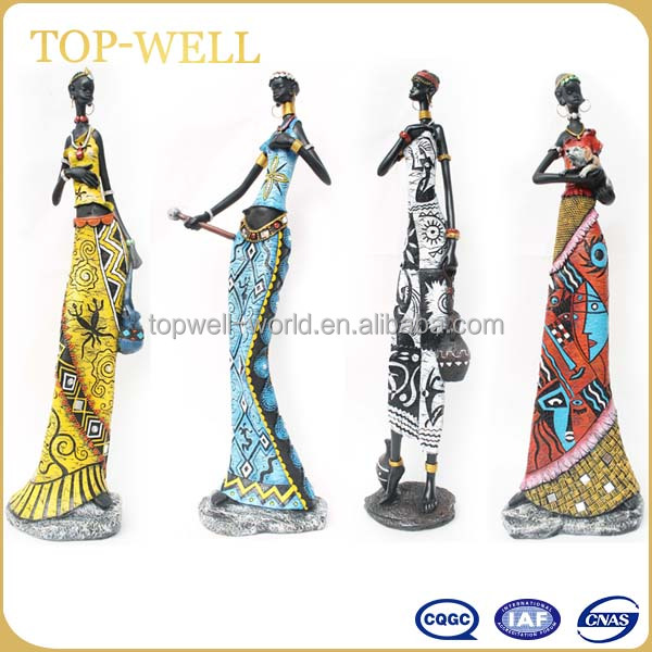 Hot sale cheap 4 designs resin figurine , polyresin African black woman figurine made in China